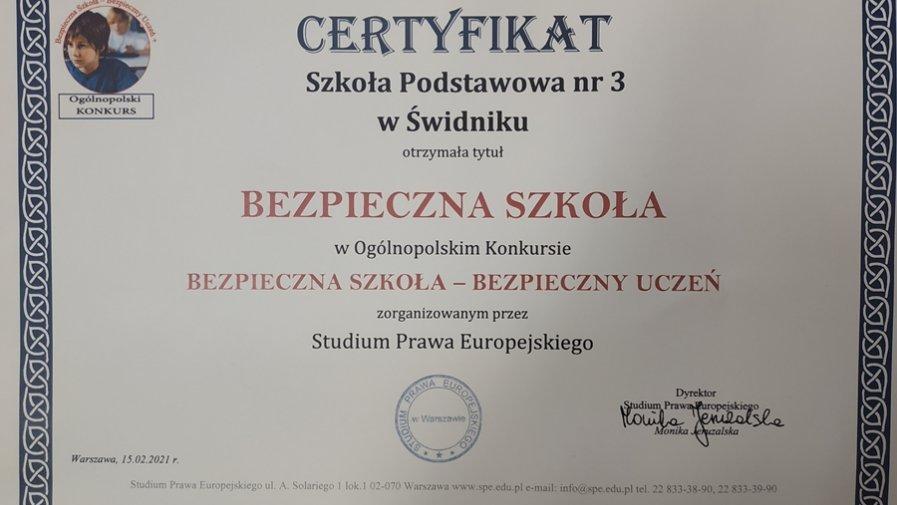 Zdobyliśmy certyfikat bezpiecznej szkoły!!!