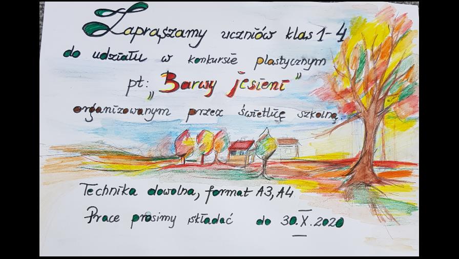 """Zapraszamy uczniów klas 1 - 4 do udziału w konkursie plastycznym pt. """"Barwy jesieni"""", organizowanym przez świetlicę szkolną."""